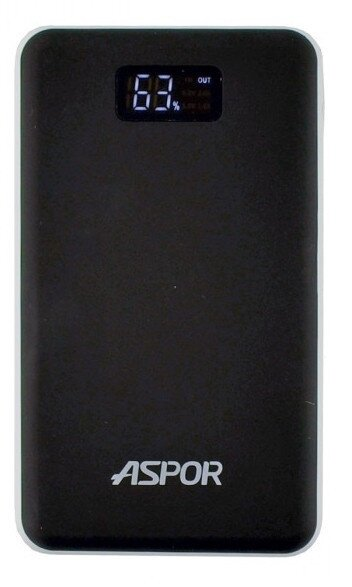 Powerbank Aspor A386 Soft Touch, 12 000mAh- черный